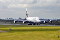 A6-EDF @ EGCC - Emirates Airbus A-380-841, c/n: 007 arriving at Manchester
