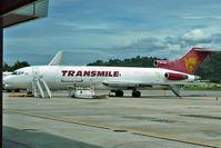 9M-TGB @ WBKK - Transmile 's Boeing 727-2F2/Adv(F), c/n: 22998 at Kota Kinabalu