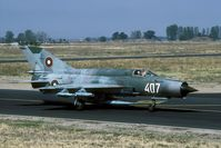 407 @ LBPG - One of the many MiG-21s flying during Co-operative Key 2001. To avoid double serials within the Bulgarian serial system this MiG-21 was reserialled 427 by 2004. - by Joop de Groot