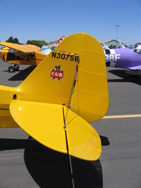 N30756 @ KMCE - Close-Up of Cub emblem on tail of 1940 Piper J3C-65 Cub at 2005 Merced West Coast Antique Fly-in - by Steve Nation