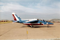 E141 @ EGQL - Alpha Jet number 1 of the French aerobatic display team La Patrouille de France on display at the 1996 RAF Leuchars Airshow. - by Peter Nicholson