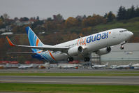 A6-FDK @ KBFI - FlyDubai 737-8KN, seen departing BFI on its delivery flight. - by Joe G. Walker