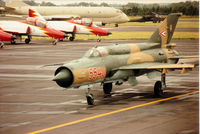 5540 @ EGVA - MiG-21 Fishbed of the Hungarian Air Force's Sky Hussars display team taxying to the active runway at the 1993 Intnl Air Tattoo at RAF Fairford. - by Peter Nicholson