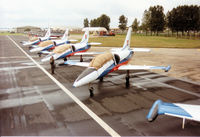 4355 @ EGVA - L-39C Albatros with others of the White Albatros display team of the Slovak Air Force on the flight-line at the 1993 Intnl Air Tattoo at RAF Fairford. - by Peter Nicholson