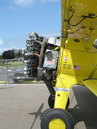 N4768V @ L52 - Close-up of engine on Aircamp Biplane Rides Boeing E75 @ Oceano County Airport, CA - by Steve Nation
