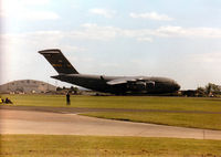 95-0105 @ MHZ - C-17A Globemaster, callsign Reach 5105, of the 437th Airlift Wing at Charleston AFB taxying at the 1997 RAF Mildenhall Air Fete. - by Peter Nicholson