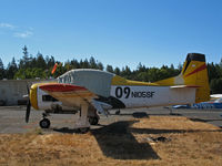 N105SF @ 2O3 - North American T-28B with canopy cover and race # 09 @ Parrett Field, Angwin, CA (with owner in Jean, NV by Aug 2009) - by Steve Nation