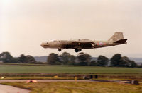 WJ607 @ EGQS - Canberra T.17A, callsign Trident 1, of 360 Squadron at RAF Wyton landing on Runway 05 at RAF Lossiemouth in the Summer of 1993. - by Peter Nicholson
