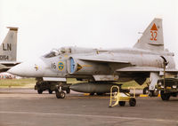 37432 @ MHZ - JA 37 Viggen of F16 Wing of the Swedish Air Force on the flight-line at the 1998 RAF Mildenhall Air Fete. - by Peter Nicholson