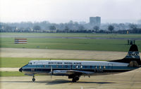G-AZNA @ LHR - Viscount 813 of British Midland Airways taxying to the terminal at Heathrow in February 1974. - by Peter Nicholson