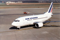 F-GJNJ @ GVA - Another view of this Air France Boeing 737-528 taxying to the terminal at Geneva in March 1993. - by Peter Nicholson