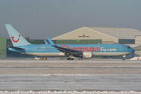 G-OBYG @ EGCC - Thomson B767 departing from RW05L - by Chris Hall