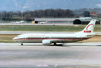 CN-RMF @ GVA - Boeing 737-4B6 of Royal Air Maroc taxying to the terminal at Geneva in March 1993. - by Peter Nicholson