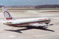 CN-RMF @ GVA - Boeing 737-4B6 of Royal Air Maroc heading for the active runway at Geneva in March 1993. - by Peter Nicholson