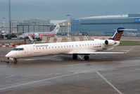 D-ACNH @ EGCC - 2009 Canadair Regional Jet CRJ-900, c/n: 15247 awaiting early morning departure from Manchester Terminal 1