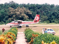 9M-MDL @ BLG - Malaysian Twin Otter at Belaga , 1988 - by Henk Geerlings