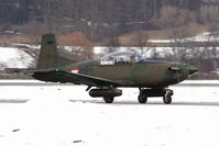 3H-FO @ LOWI - Austrian Air Forces PC 7 arms with 2x 12.7 mm of machine gun M3P Browning in HMP-250 Pods of FN Herstal, 250 shots, total weight per Pod: 116 kg - by Delta Kilo