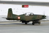 3H-FA @ LOWI - Austrian Air Forces PC 7 arms with 2x 12.7 mm of machine gun M3P Browning in HMP-250 Pods of FN Herstal, 250 shots, total weight per Pod: 116 kg - by Delta Kilo