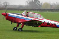 G-BCKN @ EGNF - 1952 De Havilland DHC-1 Chipmunk 22 (Lycoming), c/n: C1/0707 taxies in at Netherthorpe in torrential rain