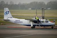 EI-CUW @ EGBJ - Aer Arran's Pilatus Britten -, Norman Ltd BN2B-26 ISLANDER, c/n: 2293 filling up at Staverton pumps