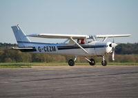 G-CEZM @ EGTF - Cessna 152 visiting Fairoaks. Ex N6167Q - by moxy