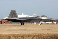 08-4168 @ LFI - USAF Lockheed Martin F-22A Raptor 08-4168 of the 94th FS Spads taxiing to the ramp after landing RWY 26. - by Dean Heald