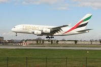 A6-EDJ @ EGCC - Emirates' 2006 Airbus A380-861, c/n: 009 landing at Manchester (UK) - by Terry Fletcher