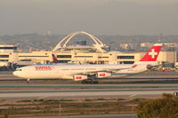 HB-JMO @ KLAX - Swiss Airbus A340-313, SWR40 arriving from LSZH (Zurich-Kloten), on TWY H KLAX. - by Mark Kalfas