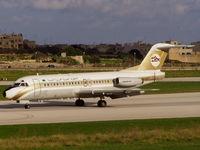 5A-DLV @ LMML - F28 5A-DLV Libyan Arab Airlines - by raymond