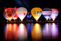 LX-BLF - Nightglow at lake Echternach during the Honda World Balloon trophy 2010 - by Raybin