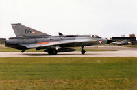 06 @ WTN - Austrian Air Force Draken of 1 Staffel on detachment to RAF Waddington joining the active runway in May 1995. - by Peter Nicholson