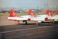 71-3051 @ EGVA - NF-5A Freedom Fighter of the Turkish Stars aerobatic display team on the flight-line at the 1996 Royal Intnl Air Tattoo at RAF Fairford. - by Peter Nicholson