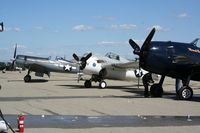 N86572 @ KCNO - Parked with N1078Z (F6F) and N83782 (F4U) and N3395G (P-47) - by Nick Taylor Photography