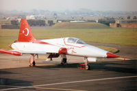 70-3027 @ EGVA - NF-5A Freedom Fighter of 134 Filo of the Turkish Air Force's Turkish Stars display team on the flight-line at the 1996 Royal Intnl Air Tattoo at RAF Fairford. - by Peter Nicholson