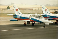 0102 @ EGVA - L-39C Albatross of the Slovak Air Force's White Albatross aerobatic display team on the flight-line at the 1994 Intnl Air Tattoo at RAF Fairford. - by Peter Nicholson