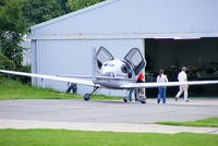 G-VBCA @ EGNG - about to enter the hangar know locally as Area 51 at Bagby Airfield, Yorkshire - by Chris Hall