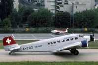 HB-HOP @ LSMS - In the eighties the Ju-Air JU-52 were still in their original Swiss AF markings.