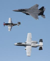 81-0967 @ TIX - A-10 with F-15 and P-51