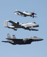87-0171 @ TIX - F-15 with P-51 and A-10