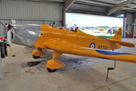 G-AKPF @ EGBG - 1941 Miles Aircraft Ltd MILES M14A HAWK TRAINER 3, c/n: 2228 hangared at Leicester