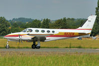 N63EN @ EGSX - Cessna 340, c/n: 340-0063 , taxying for departure from North Weald