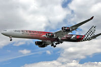 A6-EHJ @ EGLL - Ethiad's 2008 Airbus A340-642X, c/n: 933 sporting the F1 Grand Prix scheme