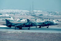 XW267 @ LMML - Harriers T4s XW267/T & XW268/U lining up the runway at RAF Luqa for a sortie. - by raymond