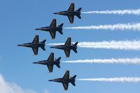 163705 @ KTVC - Blue Angels Delta Formation at the 2010 National Cherry Festival Air Show - by Mel II