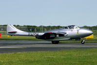 LN-DHZ @ EGXW - this Vampire respresent Vampire T.55 15027/PX-M, that flew with the Norwegian AF from 1952 to 1955.