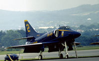 154177 @ RDG - A-4F Skyhawk Blue Angels number 2 on the flight-line at the 1976 Reading Airshow. - by Peter Nicholson