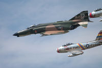 72-1490 @ KNTU - MDD F-4E in formation with two very shiny F-86s. - by Gregg Stansbery