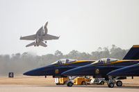 166658 @ KNPA - Super Hornet demo aircraft pulls up sharply during their takeoff at NAS Pensacola. - by Gregg Stansbery