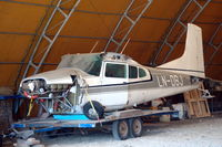 LN-DBJ @ ENNO - Wreckage of Skywagon in a hangar at Notodden airfield. It was damaged in a hard landing on 2009-03-14 when flown by a famous Norwegian downhill skier. - by Henk van Capelle