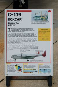 N3559 @ DOV - Information Plaque for the 1953 Fairchild C-119G-3E Flying Boxcar at the Air Mobility Command Museum, Dover AFB, DE - by scotch-canadian